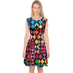 Colorful Rhombus And Triangles                                Capsleeve Midi Dress