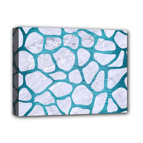 Skin1 White Marble & Teal Brushed Metal Deluxe Canvas 16  X 12