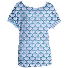 Scales3 White Marble & Teal Brushed Metal (r) Women s Oversized Tee