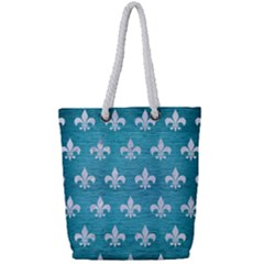 Royal1 White Marble & Teal Brushed Metal (r) Full Print Rope Handle Tote (small)