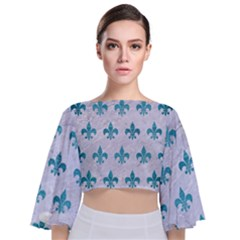Royal1 White Marble & Teal Brushed Metal Tie Back Butterfly Sleeve Chiffon Top