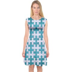 Puzzle1 White Marble & Teal Brushed Metal Capsleeve Midi Dress