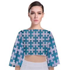 Puzzle1 White Marble & Teal Brushed Metal Tie Back Butterfly Sleeve Chiffon Top