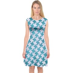 Houndstooth2 White Marble & Teal Brushed Metal Capsleeve Midi Dress