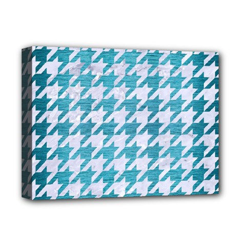Houndstooth1 White Marble & Teal Brushed Metal Deluxe Canvas 16  X 12