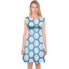 Hexagon2 White Marble & Teal Brushed Metal (r) Capsleeve Midi Dress