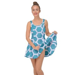 Hexagon2 White Marble & Teal Brushed Metal Inside Out Dress