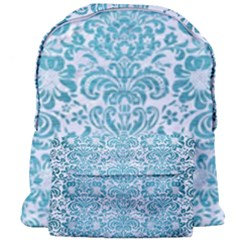 Damask2 White Marble & Teal Brushed Metal (r) Giant Full Print Backpack