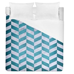 Chevron1 White Marble & Teal Brushed Metal Duvet Cover (queen Size)