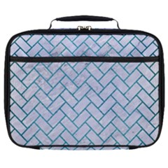 Brick2 White Marble & Teal Brushed Metal (r) Full Print Lunch Bag