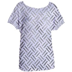 Woven2 White Marble & Silver Paint (r) Women s Oversized Tee