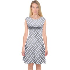 Woven2 White Marble & Silver Paint Capsleeve Midi Dress