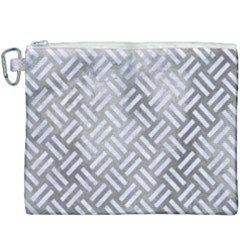 Woven2 White Marble & Silver Paint Canvas Cosmetic Bag (xxxl)