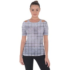 Woven1 White Marble & Silver Paint Short Sleeve Top