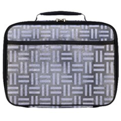 Woven1 White Marble & Silver Paint Full Print Lunch Bag