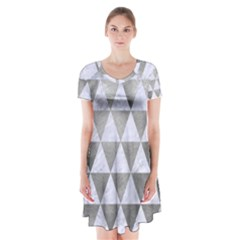Triangle3 White Marble & Silver Paint Short Sleeve V Neck Flare Dress