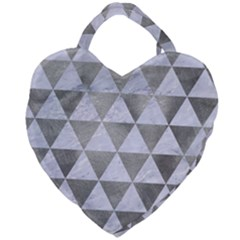 Triangle3 White Marble & Silver Paint Giant Heart Shaped Tote
