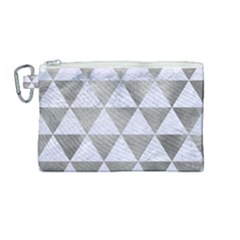 Triangle3 White Marble & Silver Paint Canvas Cosmetic Bag (medium)