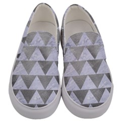 Triangle2 White Marble & Silver Paint Men s Canvas Slip Ons