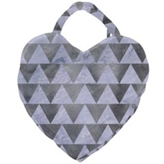 Triangle2 White Marble & Silver Paint Giant Heart Shaped Tote