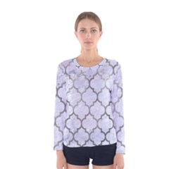 Tile1 White Marble & Silver Paint (r) Women s Long Sleeve Tee