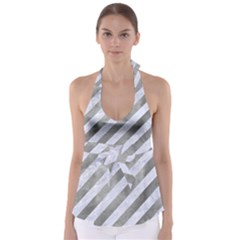 Stripes3 White Marble & Silver Paint (r) Babydoll Tankini Top