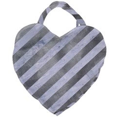 Stripes3 White Marble & Silver Paint (r) Giant Heart Shaped Tote