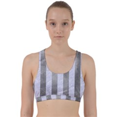 Stripes1 White Marble & Silver Paint Back Weave Sports Bra