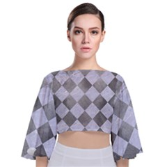 Square2 White Marble & Silver Paint Tie Back Butterfly Sleeve Chiffon Top