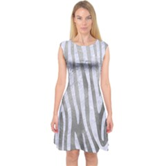 Skin4 White Marble & Silver Paint (r) Capsleeve Midi Dress