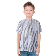 Skin3 White Marble & Silver Paint (r) Kids  Cotton Tee