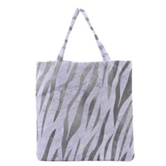 Skin3 White Marble & Silver Paint (r) Grocery Tote Bag
