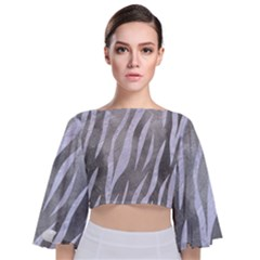 Skin3 White Marble & Silver Paint Tie Back Butterfly Sleeve Chiffon Top