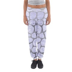 Skin1 White Marble & Silver Paint Women s Jogger Sweatpants