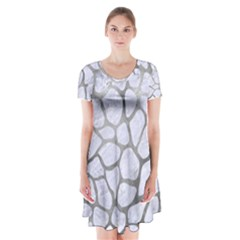 Skin1 White Marble & Silver Paint Short Sleeve V Neck Flare Dress