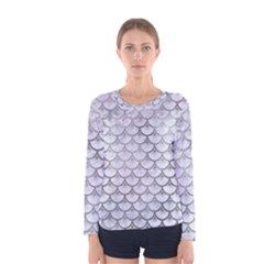 Scales3 White Marble & Silver Paint (r) Women s Long Sleeve Tee