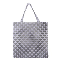 Scales3 White Marble & Silver Paint Grocery Tote Bag