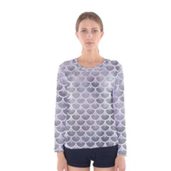 Scales3 White Marble & Silver Paint Women s Long Sleeve Tee