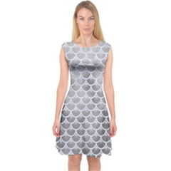 Scales3 White Marble & Silver Paint Capsleeve Midi Dress