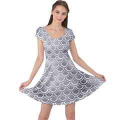 Scales2 White Marble & Silver Paint Cap Sleeve Dress