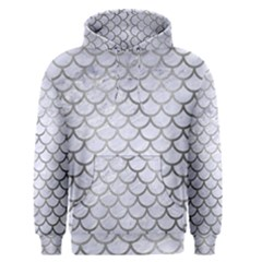 Scales1 White Marble & Silver Paint (r) Men s Pullover Hoodie