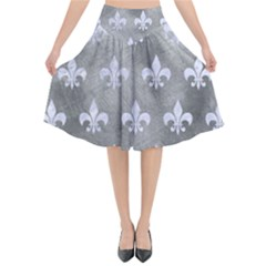 Royal1 White Marble & Silver Paint (r) Flared Midi Skirt