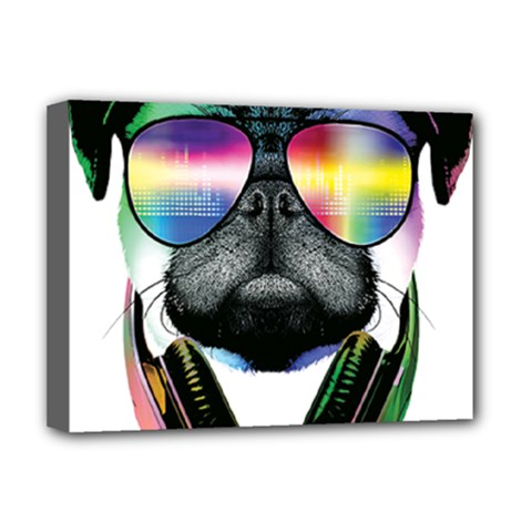 Dj Pug Cool Dog Deluxe Canvas 16  X 12