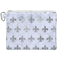 Royal1 White Marble & Silver Paint Canvas Cosmetic Bag (xxl)