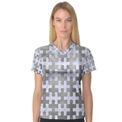 Puzzle1 White Marble & Silver Paint V Neck Sport Mesh Tee