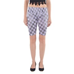 Houndstooth2 White Marble & Silver Paint Yoga Cropped Leggings