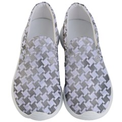Houndstooth2 White Marble & Silver Paint Men s Lightweight Slip Ons