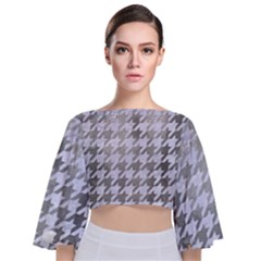 Houndstooth1 White Marble & Silver Paint Tie Back Butterfly Sleeve Chiffon Top