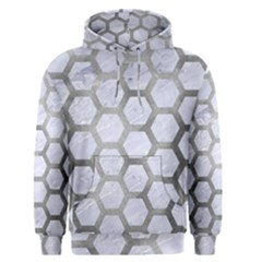 Hexagon2 White Marble & Silver Paint (r) Men s Pullover Hoodie