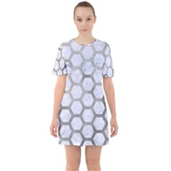 Hexagon2 White Marble & Silver Paint (r) Sixties Short Sleeve Mini Dress